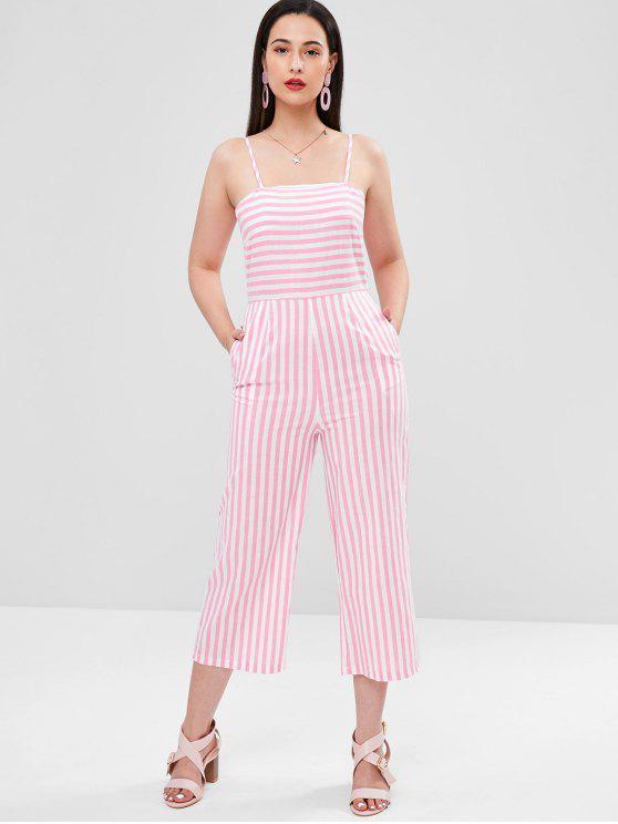 shop Striped Bowknot Wide Leg Jumpsuit - PINK M