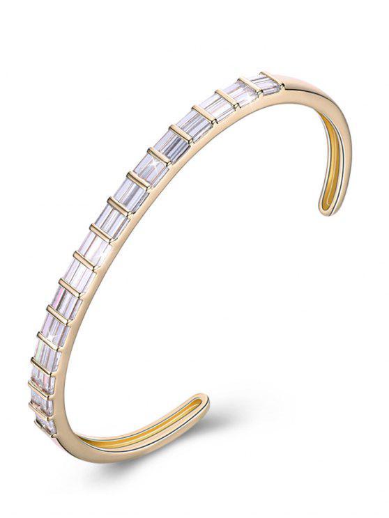 Pulsera con brazalete de cristal retro con incrustaciones - Seda Blanca