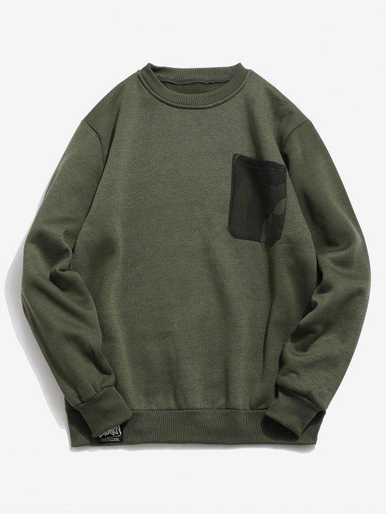 outfits Chest Camo Pocket Fleece Sweatshirt - ARMY GREEN M