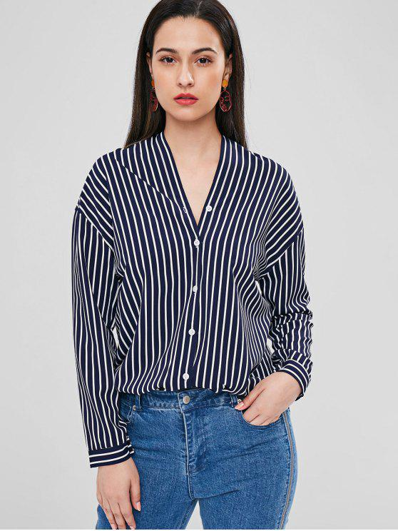 hot Striped Oversized Blouse - MIDNIGHT BLUE S