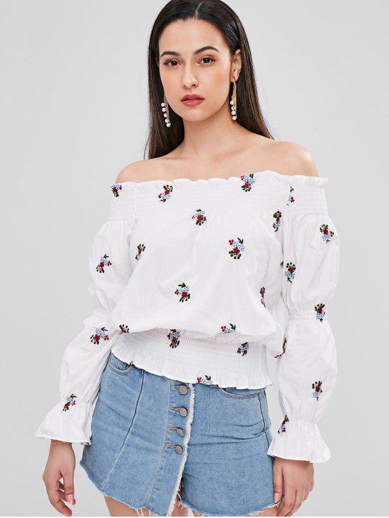 Geraffte Blumen Bestickte Bluse - Weiß XL