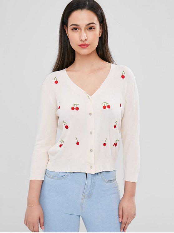 unique Cherry Embroidered Cardigan - WARM WHITE ONE SIZE
