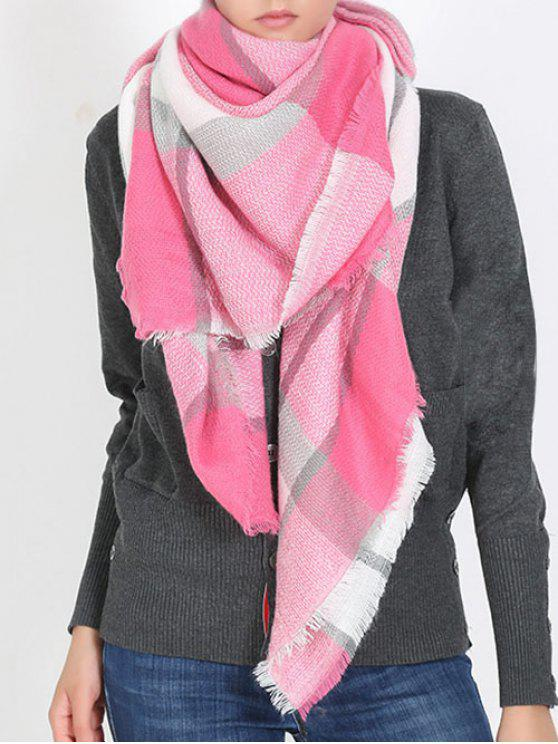 hot British Style Plaid Pattern Soft Scarf - BEAN RED ONE SZIE