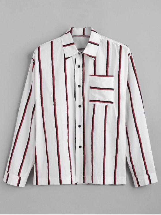 جيب الصدر عمودي مخطط طباعة قميص طويل الأكمام - أحمر 3XL