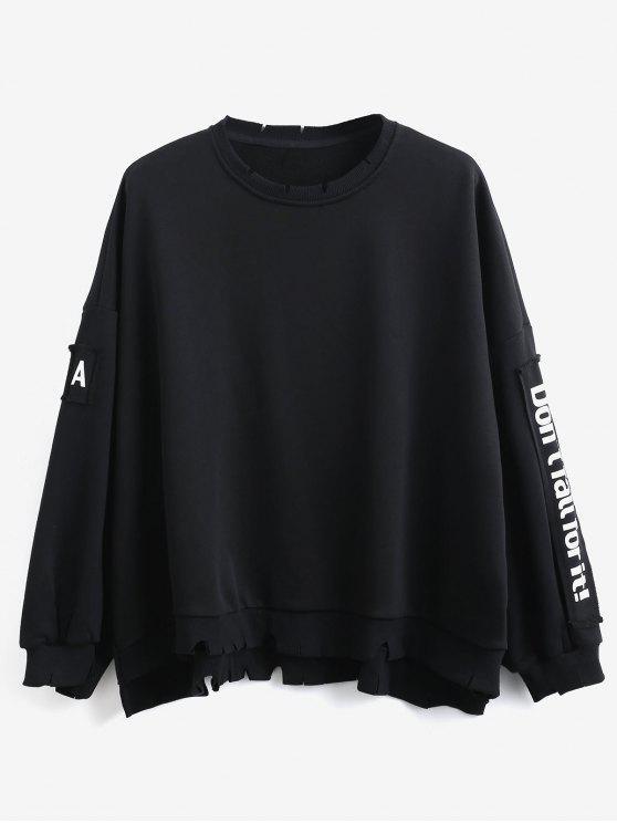 trendy Side Letter Patchwork Oversized Pullover Sweatshirt - BLACK 2XL