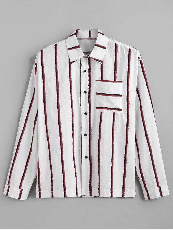 latest Chest Pocket Vertical Striped Print Long Sleeve Shirt - RED M