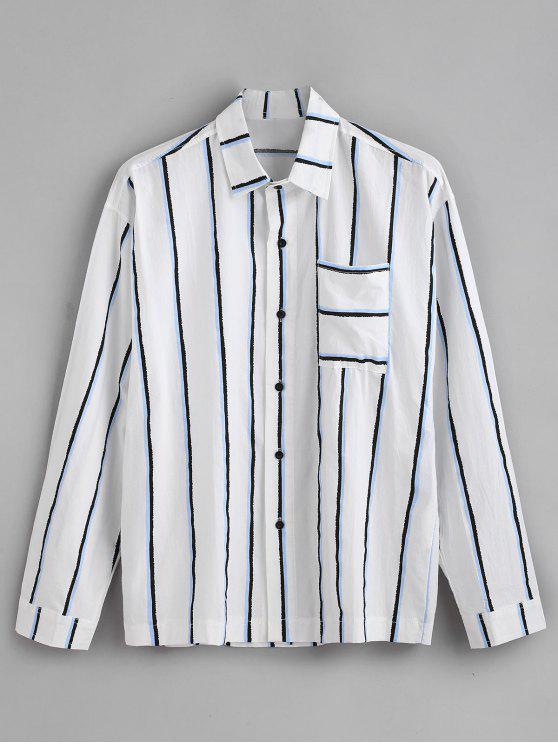 جيب الصدر عمودي مخطط طباعة قميص طويل الأكمام - أزرق L