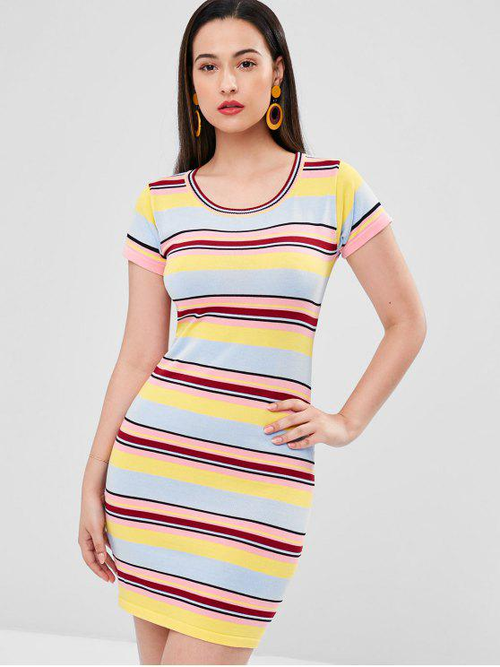 affordable Striped Sweater Dress - MULTI L