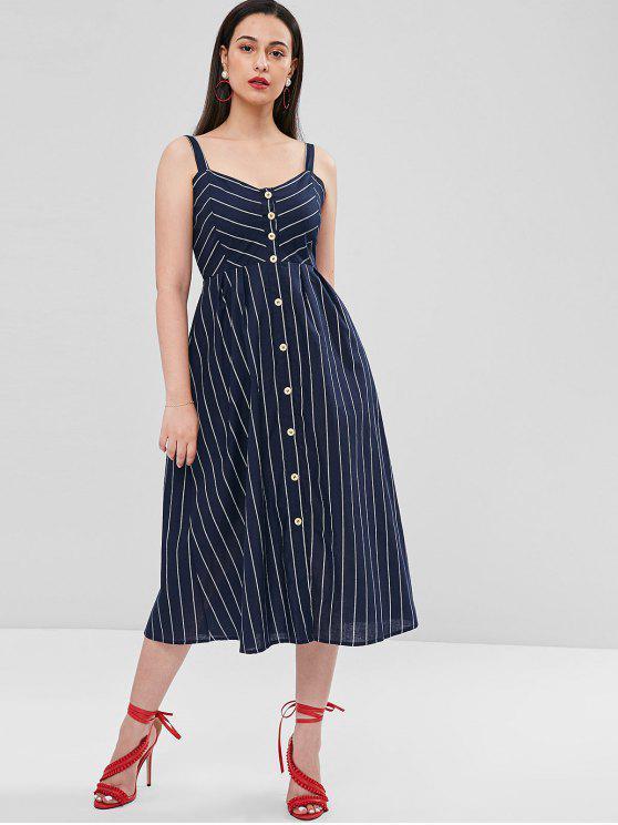 hot A Line Striped Button Up Dress - DEEP BLUE L
