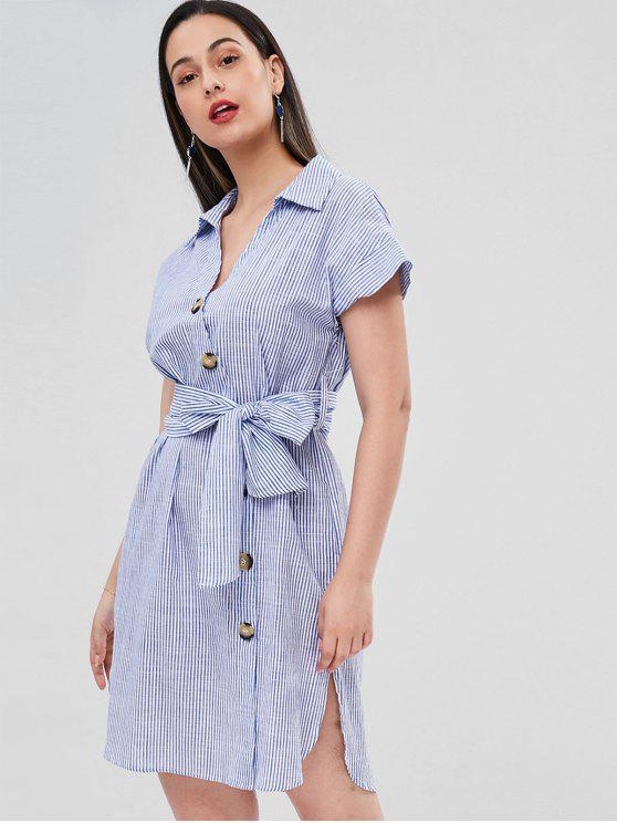 Gestreiftes Gürtel Schlitz Kleid - Blau M