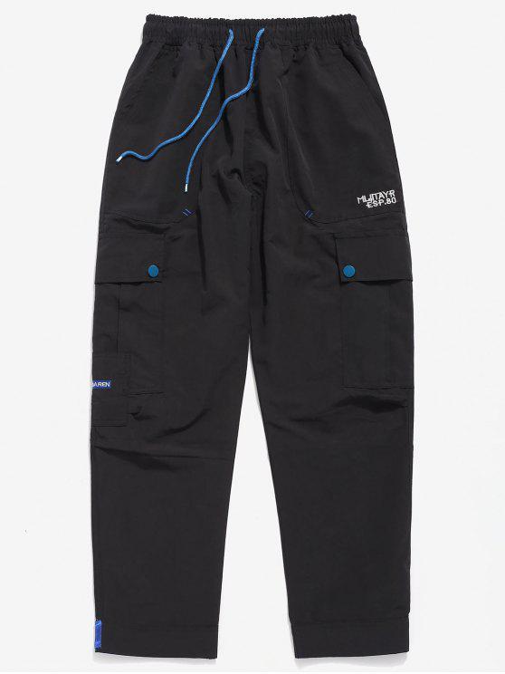 lady Casual Hem Velcro Multi Pockets Pants - BLACK S