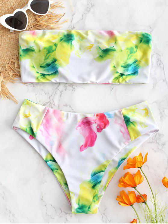 online Watercolor High Rise Bandeau Bikini Set - SLIME GREEN S