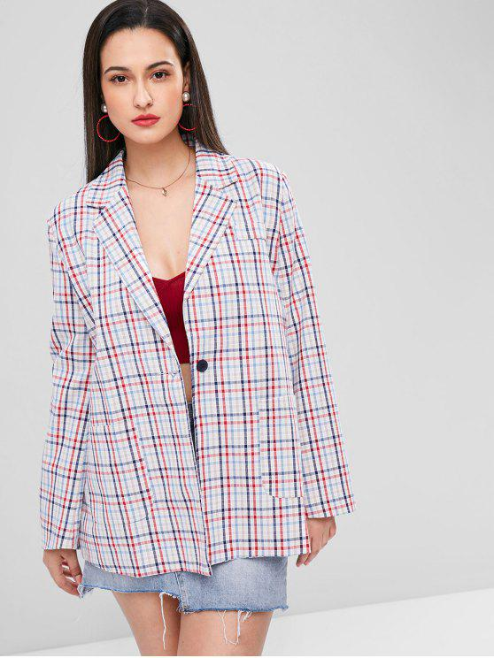 best Gingham One Button Tunic Blazer - MULTI-A M