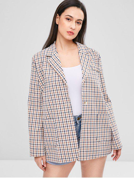 new Gingham One Button Tunic Blazer - MULTI-B M
