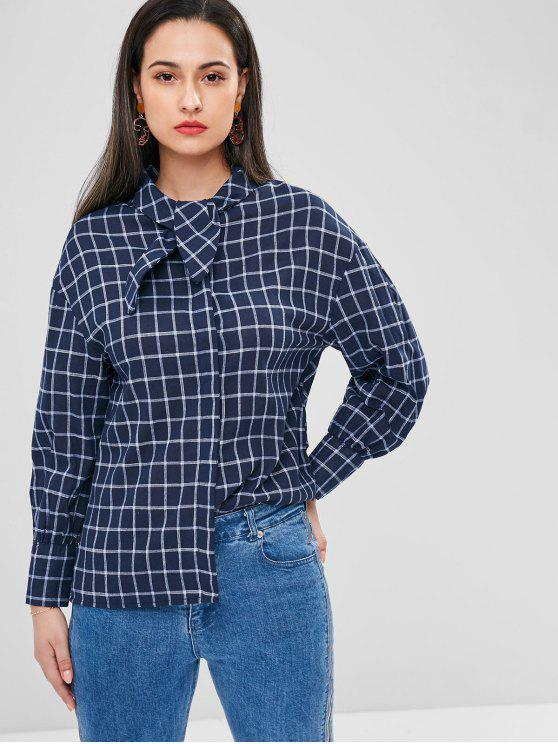 fancy Plaid Bow Tie Neck Blouse - DEEP BLUE M