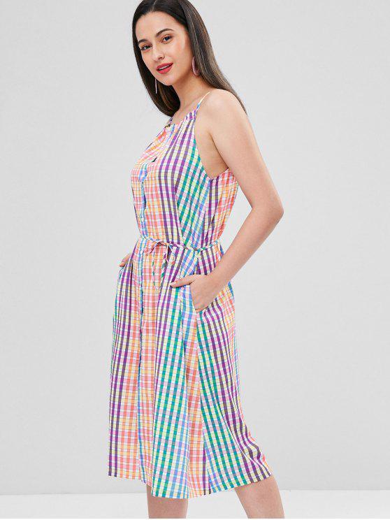 new Cami Plaid Button Up Dress - MULTI M