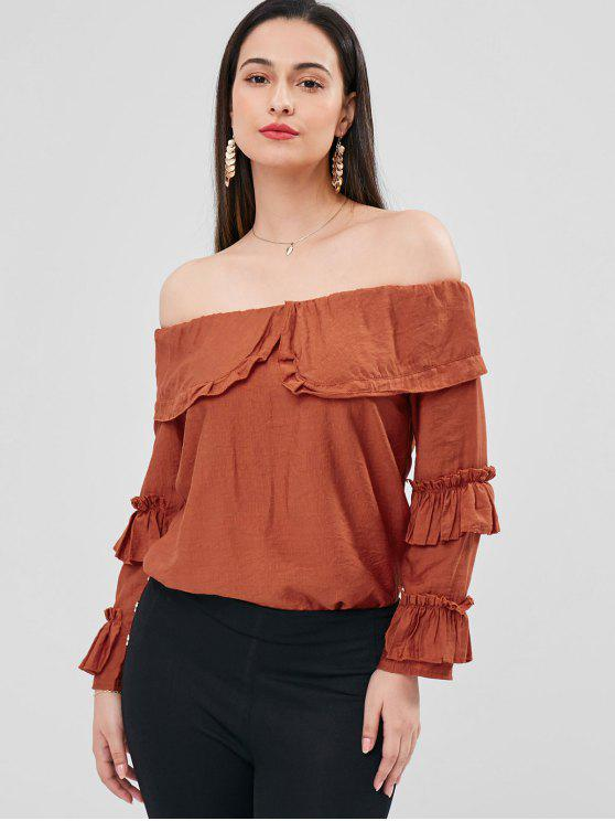 buy Off Shoulder Flounce Blouse - RED WINE ONE SIZE