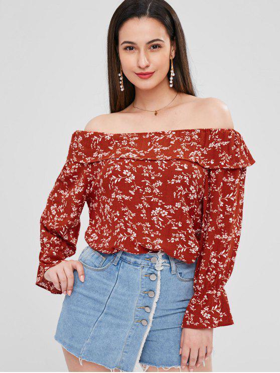 Volant Blumen Schulterfreie Bluse - Kastanie Rot Eine Größe