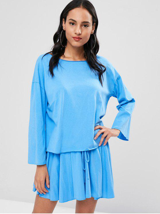 trendy Long Sleeve Tee and Mini Skirt Set - DAY SKY BLUE ONE SIZE