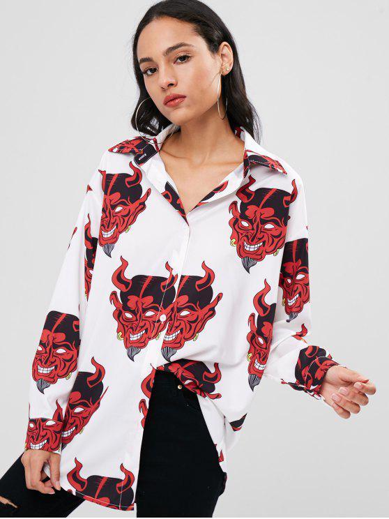 Gedrucktes Drop Schulter Shirt - Weiß Eine Größe