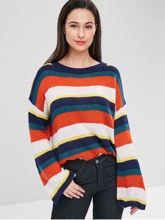Drop Schulter Bunter Gestreifter Pullover - Multi Eine Größe