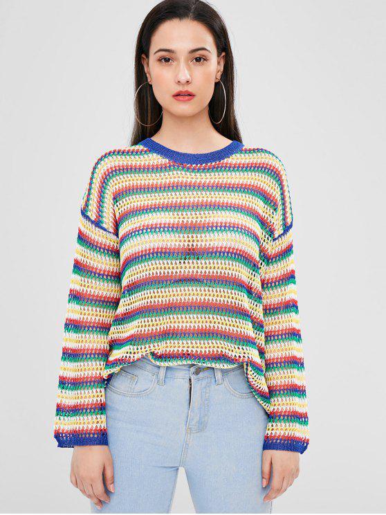 women's Striped Openwork Sweater - MULTI ONE SIZE