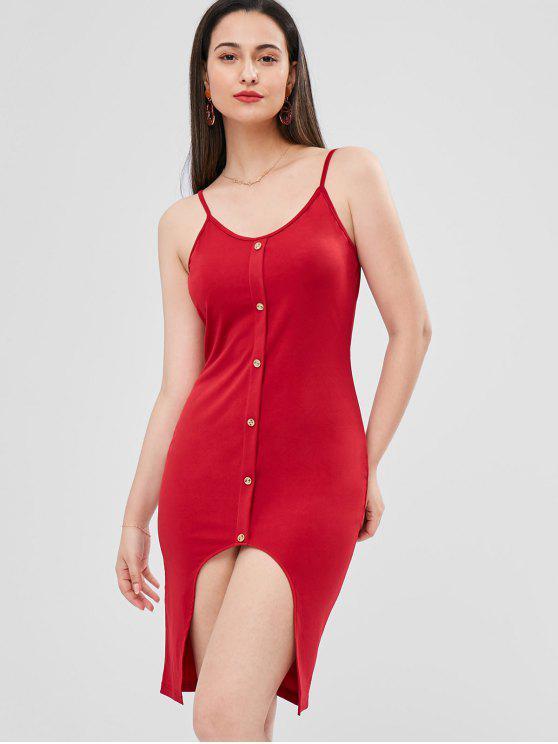 Knopf Cami Asymmetrisches Kleid - Kirschrot L