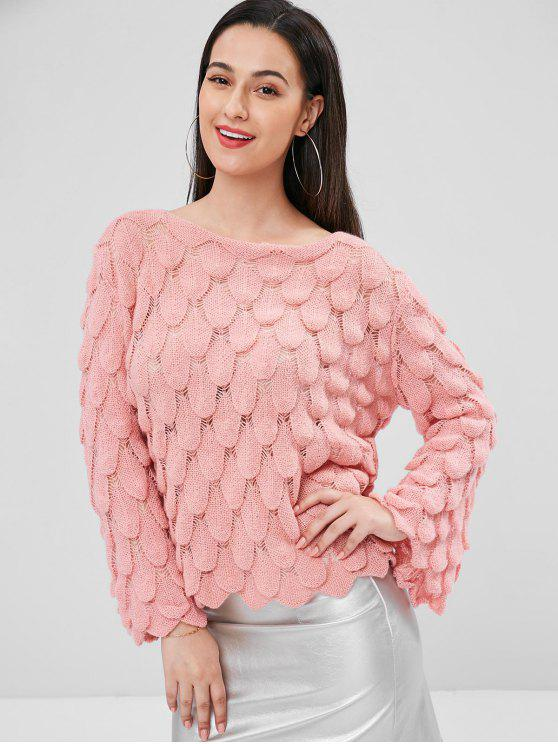 latest Flare Sleeve Drop Shoulder Sweater - PIG PINK ONE SIZE