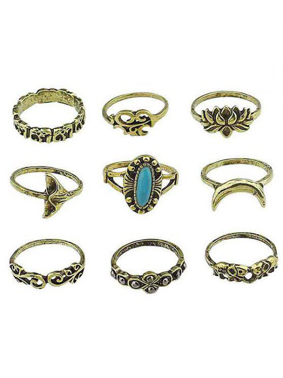 chic Floral Artificial Gem Finger Rings Set - GOLD ONE-SIZE