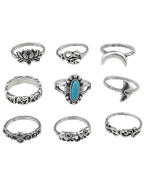 affordable Floral Artificial Gem Finger Rings Set - SILVER ONE-SIZE