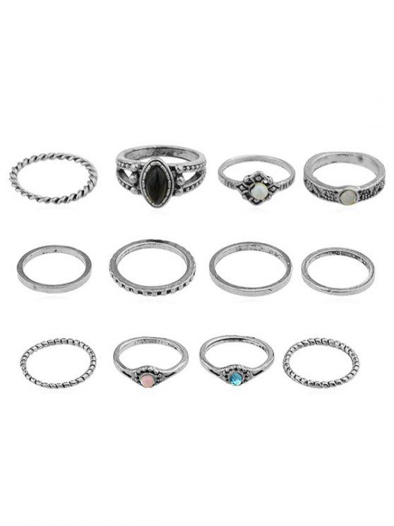 affordable Rhinestone Artificial Gem Rings Set - SILVER ONE-SIZE