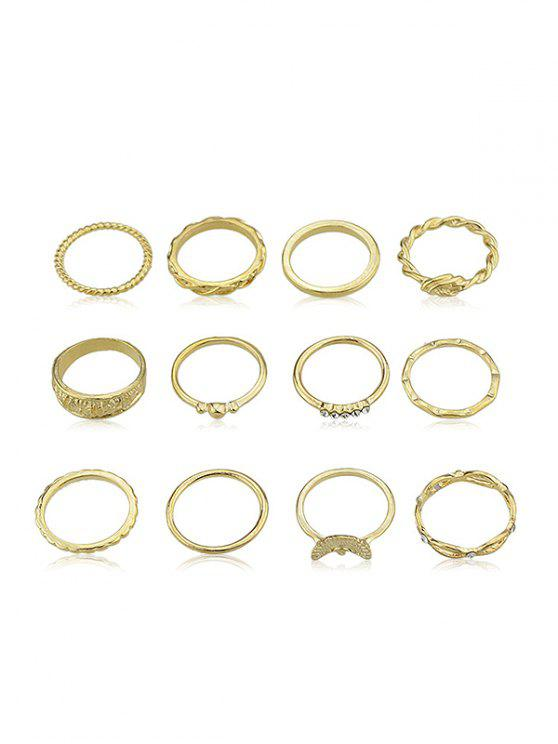 women's 12Pcs Rhinestone Decoration Ring Set - GOLD ONE-SIZE