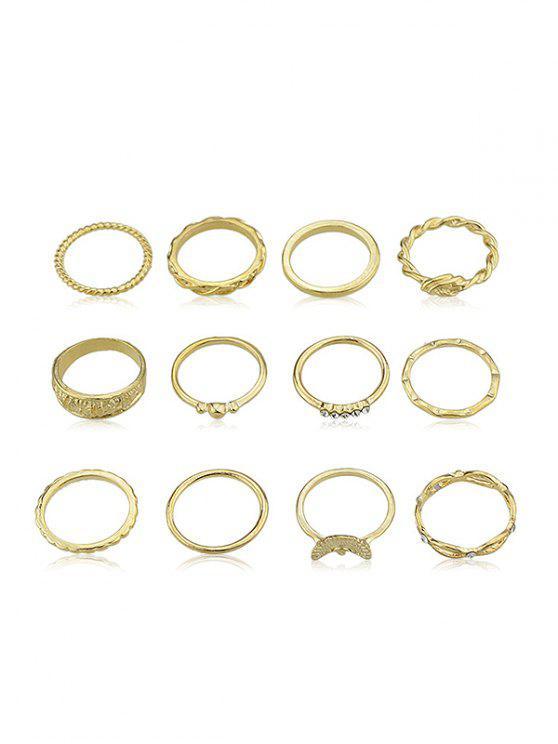 12 piezas de diamantes de imitación decoración anillo conjunto - Oro Uno de tamaño