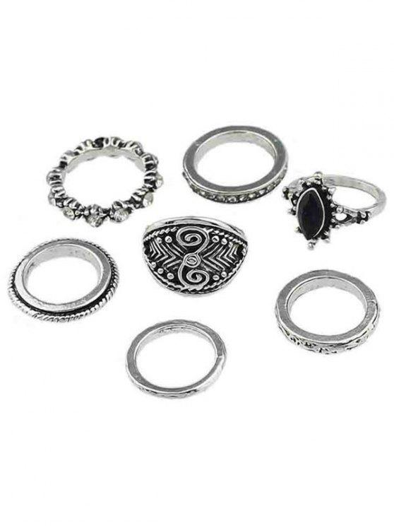 outfit Rhinestone Alloy Finger Rings Set - SILVER ONE-SIZE