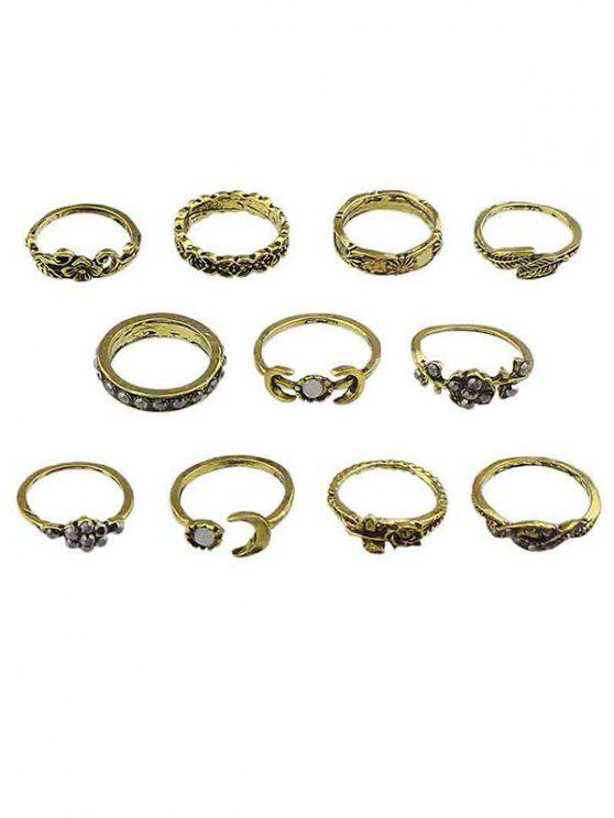 outfits Alloy Flower Moon Design Finger Rings Set - GOLD ONE-SIZE