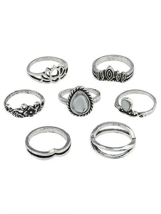 shops Hollow Flower Water Drop Design Finger Rings Set - SILVER ONE-SIZE