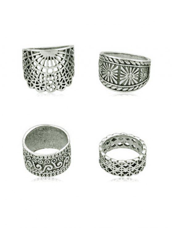 sale 4Pcs Vintage Wide Ring Set - SILVER ONE-SIZE