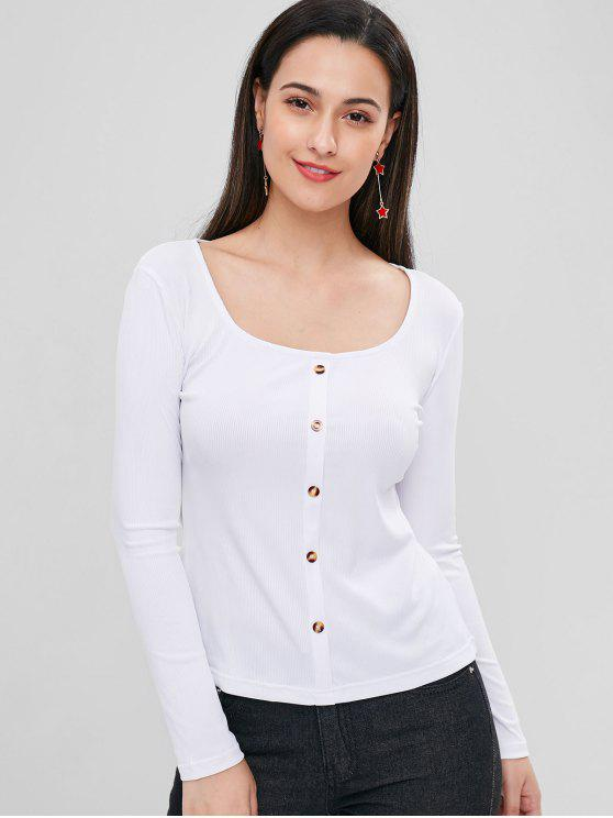 shop Buttoned Ribbed Top - WHITE M
