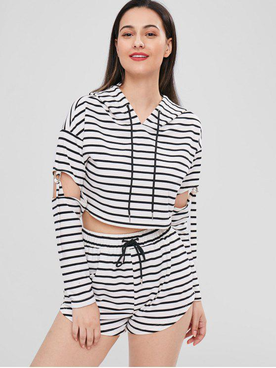 outfits Striped Cut Out Hoodie and Shorts Set - MULTI S