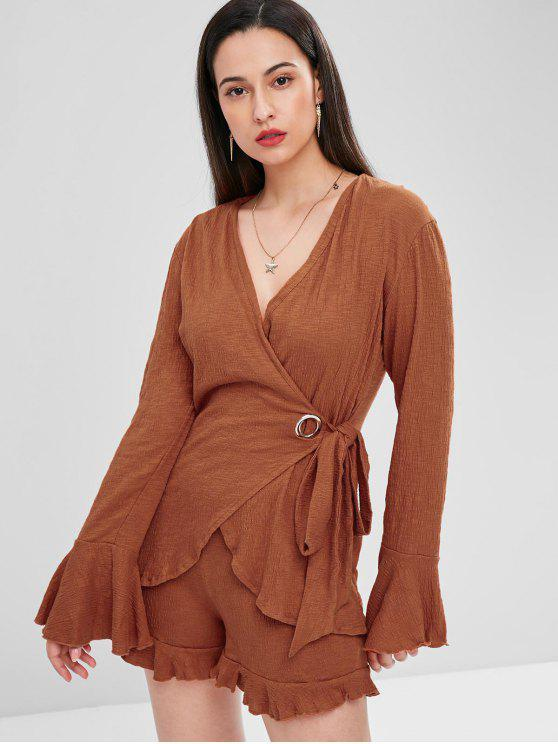 unique Flare Sleeve Plunge Wrap Blouse and Shorts Set - CHESTNUT S