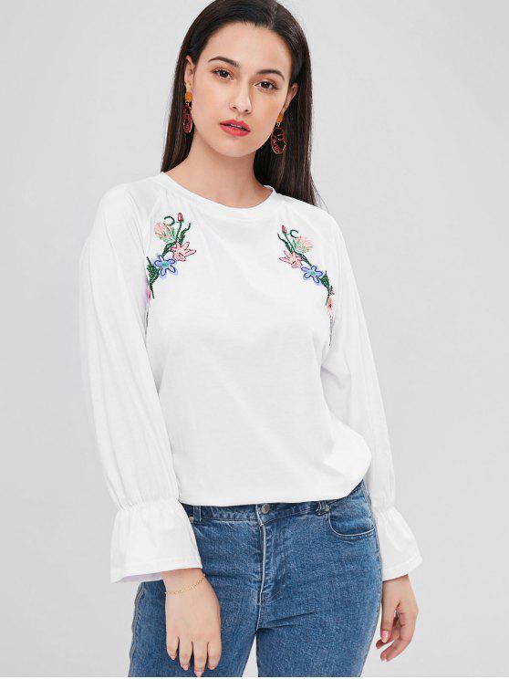 Blumen Besticktes Raglan Hülsen T-Shirt - Weiß 2XL
