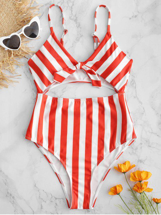 best Striped Tie Front Cutout Swimsuit - LAVA RED M