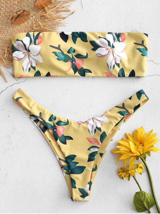 latest Plant Print Bandeau Bikini Set - HARVEST YELLOW S