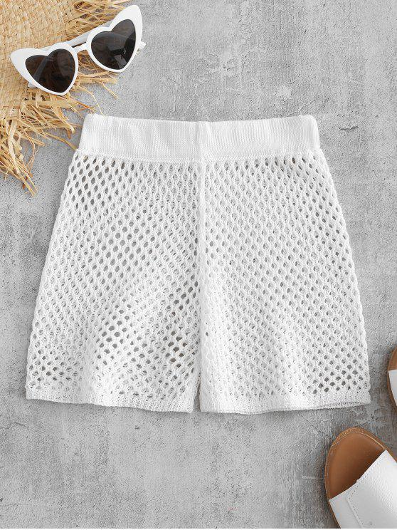 shops Sheer Crochet Shorts - WHITE ONE SIZE