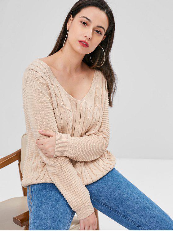 Зашнуруйте ажурный свитер - Абрикосовый S
