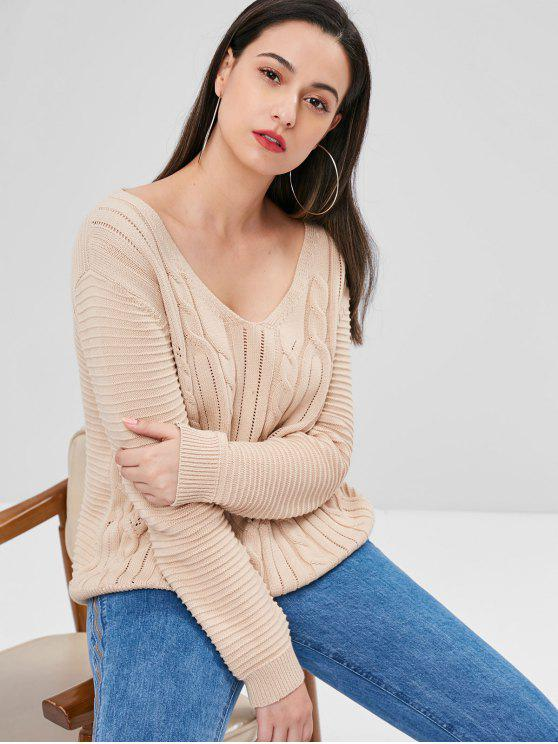 fancy Lace Up Openwork Sweater - APRICOT M