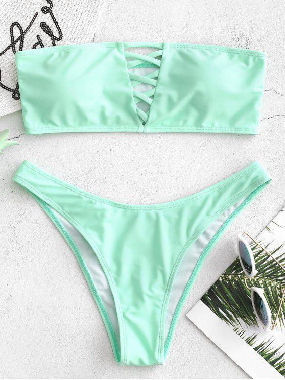 Ensemble de bikini bandeau en treillis - Bleu Vert M