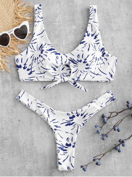 fashion Knot Printed Thong Bikini Set - WHITE S
