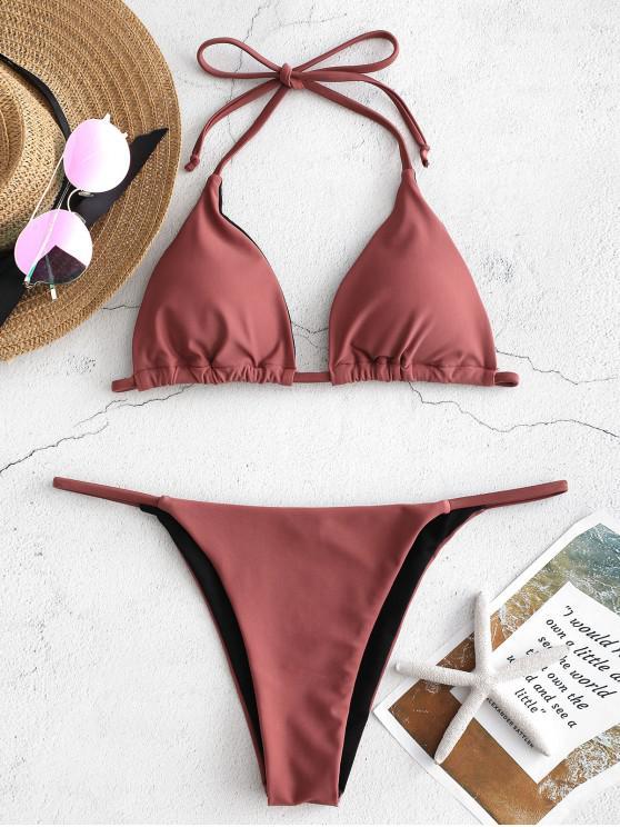 shop ZAFUL Halter String Bikini - ROSY FINCH M