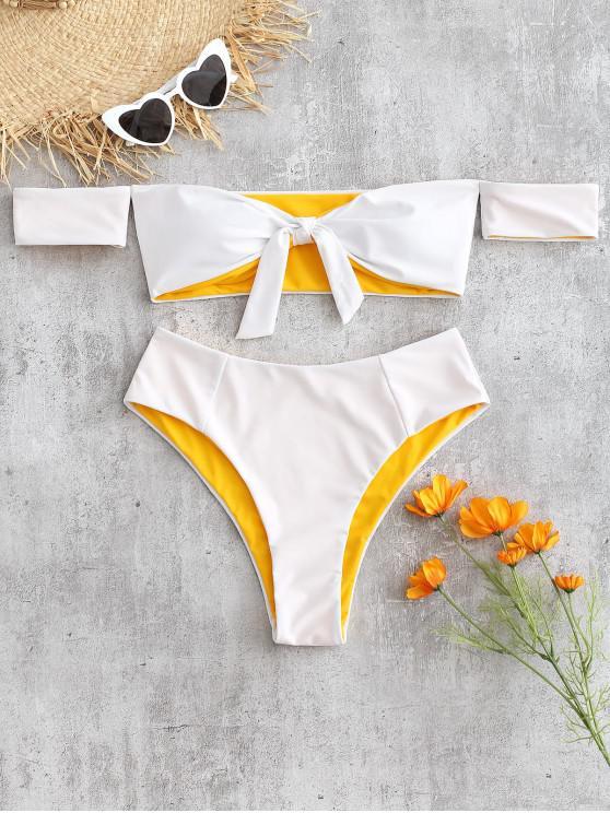 latest Off Shoulder Knotted Bikini Set - WHITE L